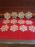 """12 Glitter Snowflakes Christmas Tree Ornaments Clear Frosted Holiday Frozen 4"""""""
