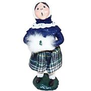 Vintage 1984 Byers Choice Carolers Young Girl Plaid Skirt With Muff Bumpy Base