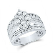 14kt White Gold Womens Round Diamond Right Hand Cluster Ring 2 Cttw