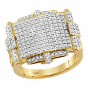 10kt Yellow Gold Mens Round Yellow Diamond Rectangle Cluster Ring 5/8 Cttw