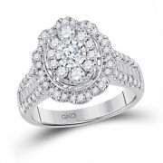 14kt White Gold Womens Round Diamond Right Hand Cluster Oval Ring 1-1/2 Cttw