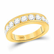 14kt Yellow Gold Womens Round Diamond Wedding Single Row Band 1-3/4 Cttw
