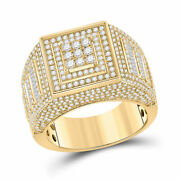 14kt Yellow Gold Mens Baguette Diamond Statement Square Ring 2-1/4 Cttw