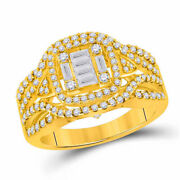 14kt Yellow Gold Womens Baguette Diamond Square Fashion Ring 1 Cttw
