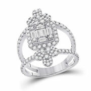 14kt White Gold Womens Round Diamond Negative Space Cluster Ring 1-1/2 Cttw