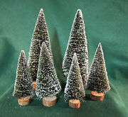 Dept 56 Frosted Topiary Cone Trees 4 Med 52000 And 2 Large 52019 Bundled. Nib