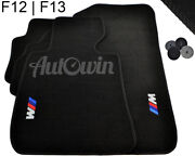 Floor Mats For Bmw 6 Series F12 F12lci Black With ///m Emblem Lhd Side Clips