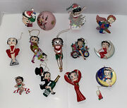 Betty Boop Christmas Ornament Lot Of 13 Mostly Kfs/fs Hearst 1990's-2000's Nice