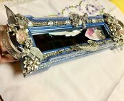 Ooak Upcycled Artisan Mirrored Vanity Traycollage Vtg Jewelry Altered Art Gift
