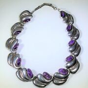 Antonia Pineda Vintage Mexican Silver And Amethyst Necklace Signed, 16-18l