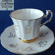 C1964 Taylor And Kent English Red Rose Tea Cup Of Fortune White Teacup And Saucer 2