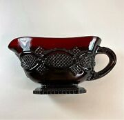 Vintage Avon 1876 Cape Cod Collection Ruby Red Glass Footed Gravy/sauce Boat