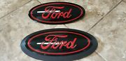 2015-20 Ford F150 Tailgate Emblem All Gloss Black And Race Red Ford Script