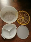 Lot Of Tupperware Strainer/colander Bowl 10and7 Yellow + Relish Tray And Lid