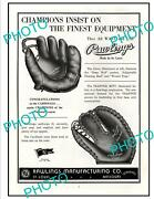 Old Large Historic Poster St Louis Missouri Rawlings Baseball Gloves C1940s