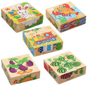 9 Pack Of Wooden 1.34'' Building Block Sorting Matching Cartoon Puzzles Toys