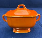 Vtg. 1940's Homer Laughlin Co Riviera Pottery Red Covered Sugar Dish
