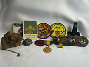Vtg Lot Of 21 Boy Scouts Of America Bsa Patches Neckerchief Holders Pins And Ring