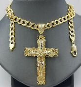 Real 10k Gold Cross And 10k Cuban Link 26 Necklace 3 Pendant Charm Chain Set