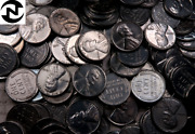 50 1943 P+d+s Steel Lincoln Wheat Penny Cent Roll // Au-bu // 50 Coins