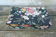 Vintage Antique 1930 /30s Old French Covered Floral Fabric Boudoir Box/ Sewing