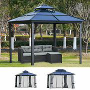 Outdoor Pergola Cabana W/ Steel Frame And Net Sidewalls For Privacy