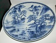 Antique Chinese Charger 18 Blue And White Sacred Mountain, Huangshan Pine Trees