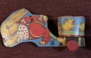 Vintage Fisher Price No. 15 Easter Bunny Pulling Round Basket Themed Cart