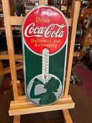 1939 Coca Cola Silhouette Lady 16 Tin Thermometer Sign Watch Video