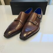 Gaziano And Girling Mayfair Double Monk Strap Shoes Size 9 Uk Vintage Oak Nwb Tg73