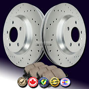 Z0102 Fit 2009 2010 Town And Country Cross Drilled Brake Rotors Ceramic Pads Front