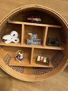 Unique Woven Baskets Wall Hanging Shelf Display Vintage Sewing Supplies Decor