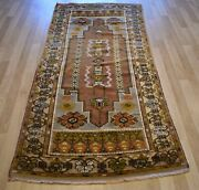 Clearance- 1940and039s Antique Turko-caucasian Handmade Kazak Dowry Rug 4 Ft X 8 Ft
