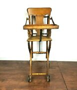Victorian Oak And Cane Victorian Stroller And High Chair Doll Display