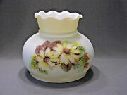 Vintage Milk Glass Lamp Shade Gwtw Floral Hurricane Replacement 7 Fitter