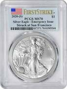 2020-s 1 American Silver Eagle Emergency Issue Ms70 First Strike Pcgs