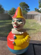 8 Vintage Clown Roly Poly Wobble Baby Toy 1950s - Rolly Polly Toys West Germany
