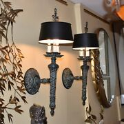 Large Antique Wall Lamp Pair Sconces With Shades Circa 1920 28 Tall