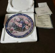 Roses W.l. George Collectible Plate Lena Liu's Basket Bouquets Flowers