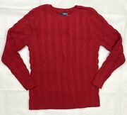 Landsand039 End Long Sleeve Drifter Cable Knit Crewneck Sweater Womenand039s Tall Red Blue