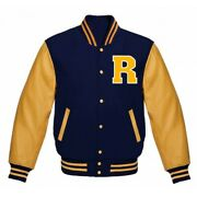 Menand039s Riverdale Letterman Varsity Navy Wool And Pure Golden Leather Sleeve Jacket
