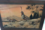 Signed Quail Print By R Manning In Wooden Frame Vintage From Estate Sale 20 X 14