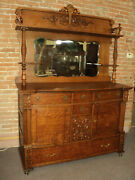 Antique Oak Buffet Sideboard With Mirror And Twisted Columns