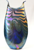 Blue Luster Vase With Gold King Tut Design. Blown Glass