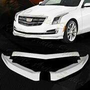 For 2015-2018 Cadillac Ats Painted White Front Bumper Body Kit Spoiler Lip 3pcs