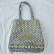 Pierre Deux French Country Handmade Quilted Purse Tote Bag Purse Blue Yellow