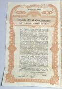1921 Atlantic Oil And Gas Company 500 Gold Bond Stock Certificate New Jersey