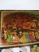 Lucy Henriquez Laminated Puerto Rico Fiesta Art On Wood 32 X 25 From 1990s