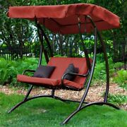2-seat Outdoor Porch Swing With Canopy In Terracotta Red Garden Yard Decor New