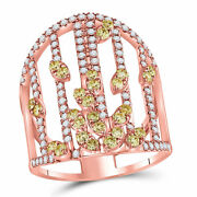 14kt Rose Gold Womens Round Yellow Diamond Fashion Cocktail Ring 1-1/2 Cttw